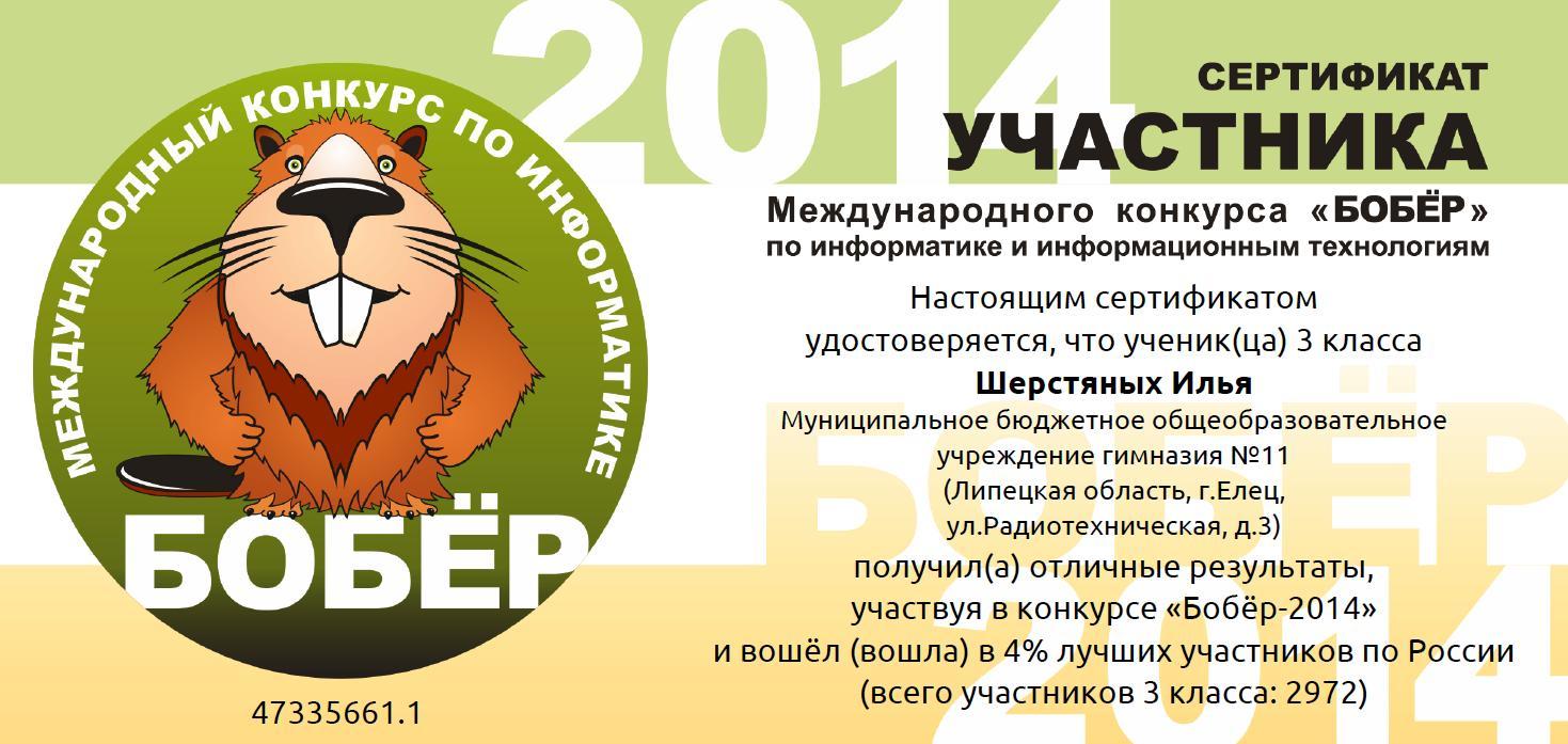 Международный конкурс по информатики бобер
